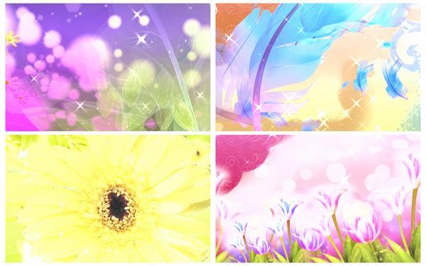 多彩缤纷喜庆场景花朵羽毛飘浮活动婚礼绚丽花纹舞台背景素材