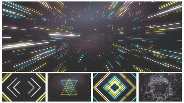 魔幻動感空間光效線性運動視覺效果夜場酒吧派對舞臺背景視頻素材