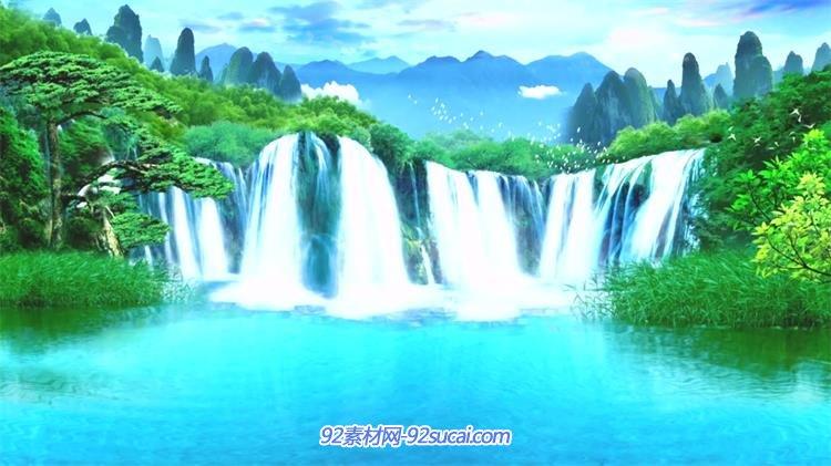 仙境唯美山水瀑布奇幻自然森林流水景色舞台背景视频素材