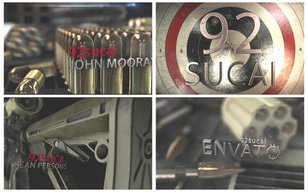 AE模板 震撼动感子弹武器射击主题电影宣传推广片头模版 AE素材