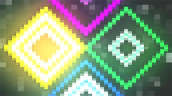 绚丽像素化彩色光效灯光变换方块马赛克LED舞台动感背景视频素材