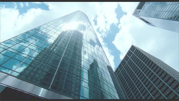 仰视觉观望办公企业高楼大厦蓝天白云城市建筑高清视频实拍