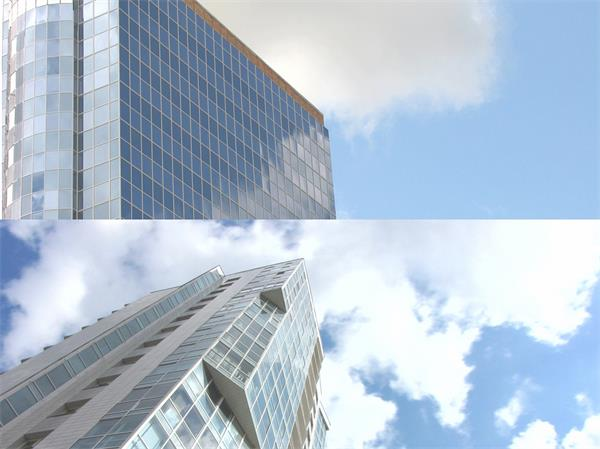 繁华城市CBD高楼大厦特写蓝天云层变幻建筑高清视频实拍
