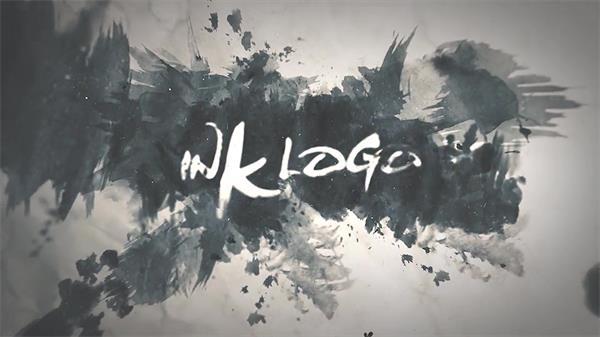 AE模板 大气典雅水墨涂鸦风格完美演绎企业LOGO标志模板 AE素材
