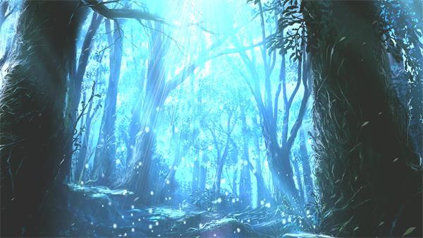 魔幻神秘森林粒子飘浮光线照射唯美梦幻场景高清背景视频素材