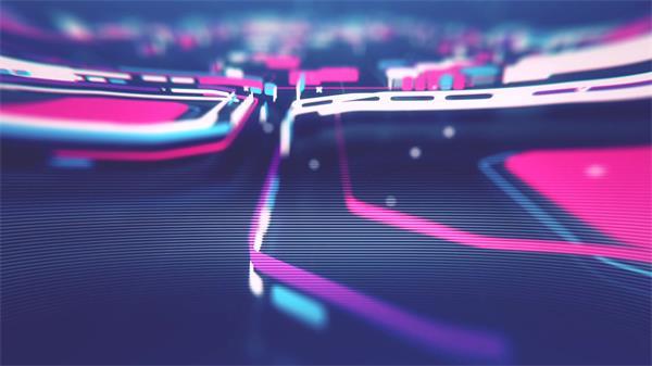 缤纷绚丽方块多边形运动穿越科技视觉效果LED视频素材