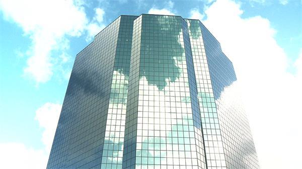 宏伟大气办公大楼天空云朵变幻流动建筑特写高清视频实拍