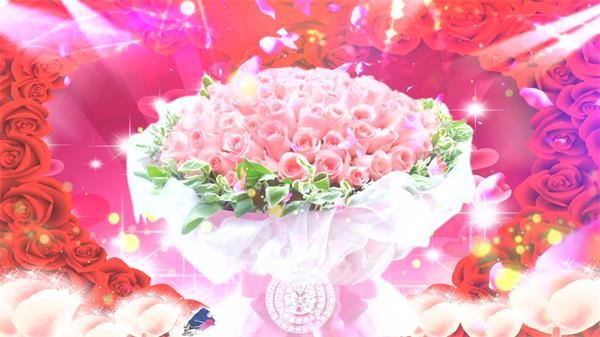 唯美浪漫玫瑰花光效粒子花瓣飞翔婚礼求婚留念日配景视频素材