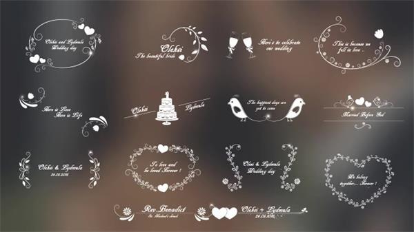 AE模板 创意唯美婚礼电子相册幻灯片标题展示元素动画模板 AE素材