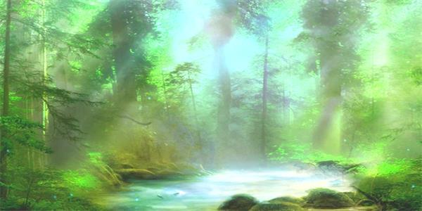 梦幻抽象仙境阳光照射丛林山间小河流奇缘景色背景视频素材