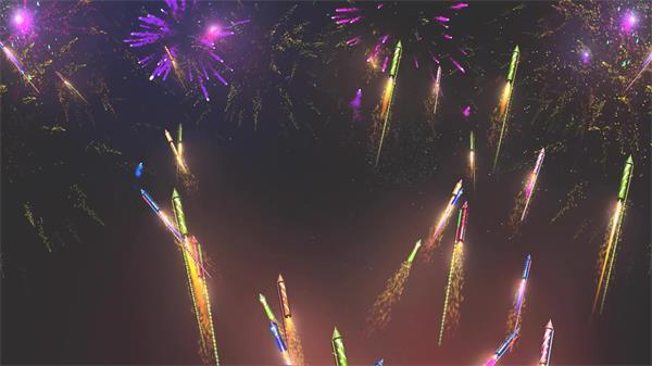 灿烂美丽烟花绽纵火箭仙游燃点唯美夜空LED配景视频素材
