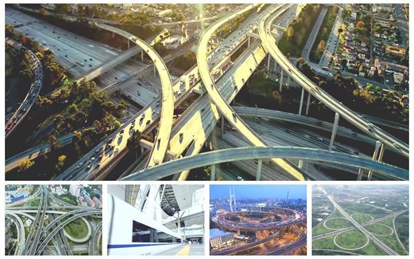 城市交通发展高速公路火车列车交通运输镜头高清视频延时实拍