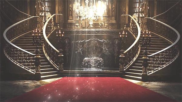 奢华大气别墅室内楼梯喷泉红地毯光线照射粒子背景视频素材