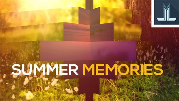 AE模板 夏日回忆电子相册百叶窗方块切换过渡效果揭示模板 AE素材