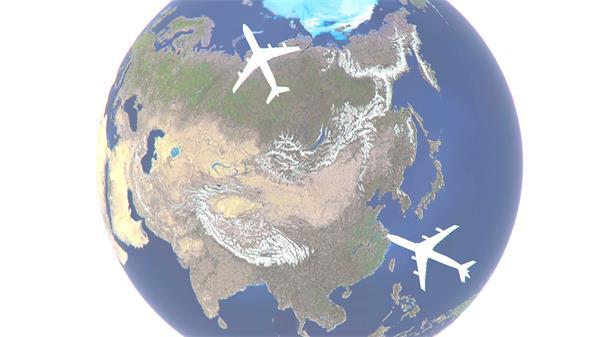 虚拟构建3D地球旋转飞机帆船科技互联网幻灯片宣传背景视频素材