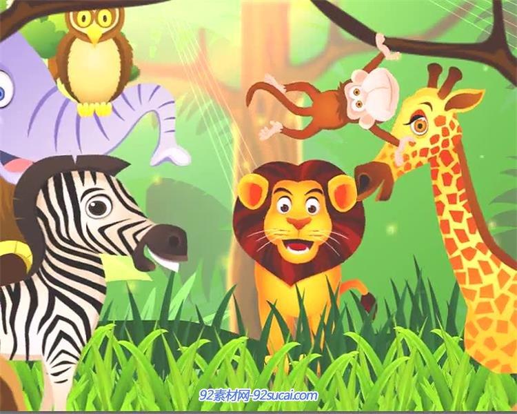 卡通趣味森林草丛间小动物汇聚儿童欢乐动画片视频素材图片