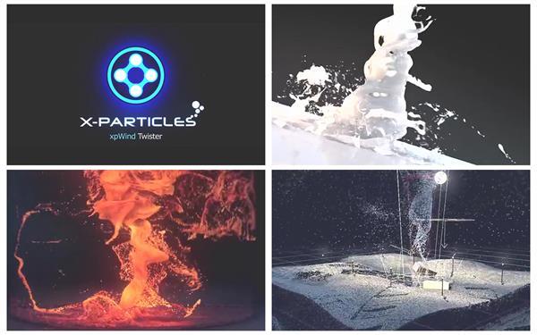 X-Particles3.5教程:粒子插件制造流体狂风雪龙卷风鱼聚集群动画
