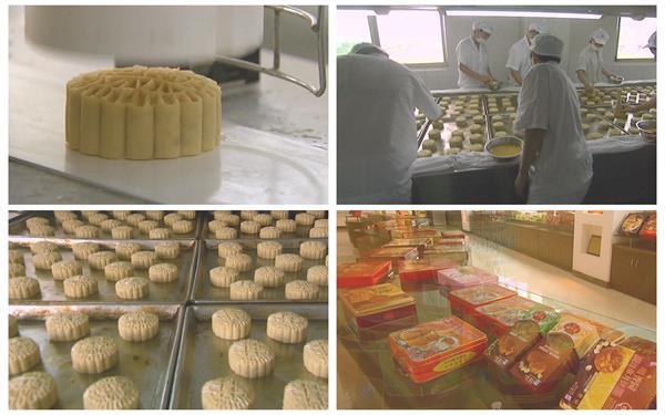 中秋佳节饼家制作月饼加工生产模具压印烘焙节日高清视频实拍