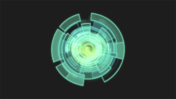 圆形科技齿轮方块旋转科幻镜头视觉结果舞台静态LED视频素材