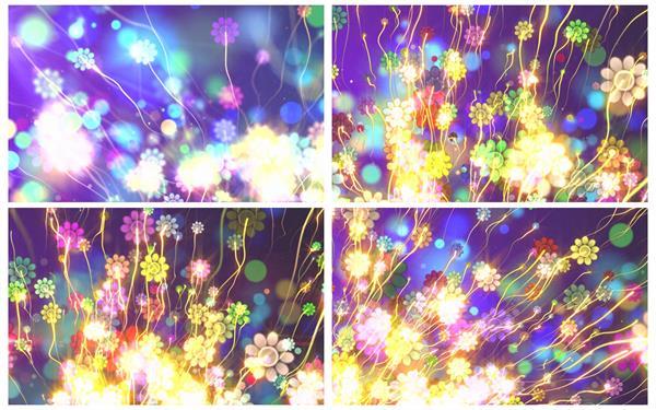 创意奇幻花朵游动光效线条缤纷优美场景视觉打击LED配景视频素材