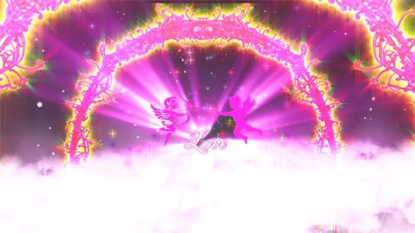 炫光创意婚礼背景花拱桥丘比特红地毯互动环节舞台LED视频素材