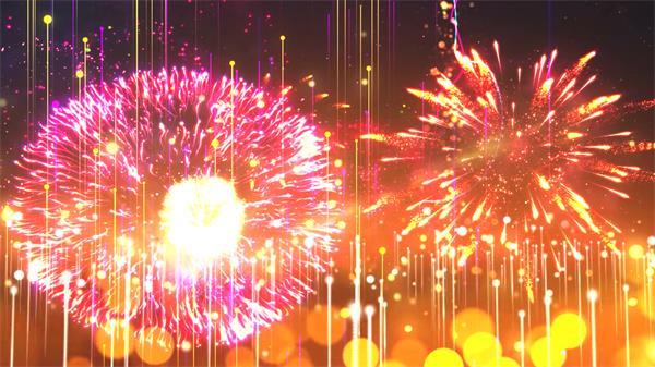 梦幻大气线性光效烟花绽放舞台LED晚会开场背景片头视频素材