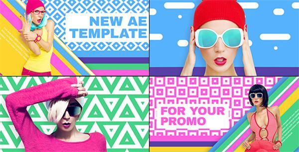 AE模板 時尚色彩搭配方塊切換過渡雜志時裝宣傳片頭模板 AE素材