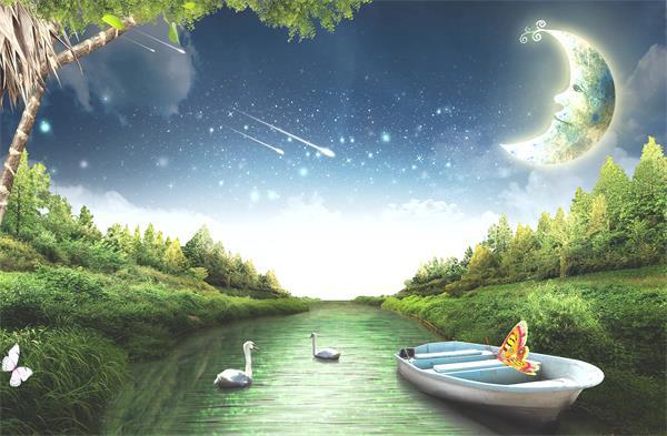 梦幻仙境世外桃源月亮流星河岸蝴蝶飞舞虚拟唯美场景视频素材