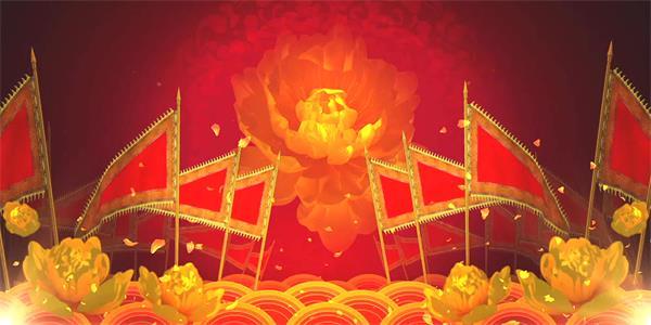 大气中国风古典战国场景花朵绽放旌旗摇晃挥动舞台配景视频素材