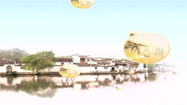 唯美江南水乡古典背景雨伞升起文化意境舞台背景视频素材