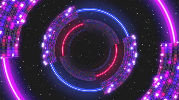 假造科幻星空光效线条方块霓虹灯闪耀旋转活动视觉打击LED视频素