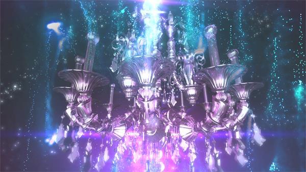 绚丽大气水晶吊灯粒子飘浮魔幻场景视觉效果舞台LED背景视频素材