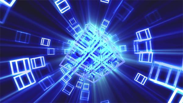 炫酷光效魔方震撼晃动缩放射线闪烁视觉冲击派对舞台背景视频素材