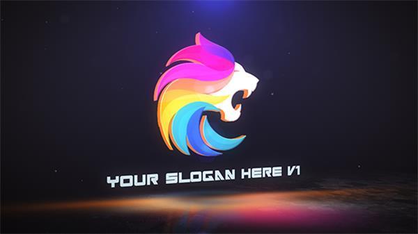 AE模板 三维空间影戏结果颜色光效渲染展现LOGO宣传片头模板 AE素