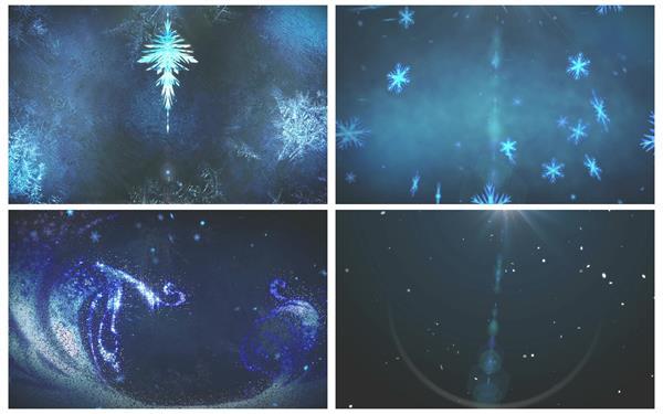 晶莹唯美星空蓝色水晶粒子飘浮冰花视觉盛宴舞台配景实拍素材