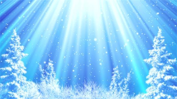冰雪奇缘曙光射线雪粒飘浮梦幻童话舞台背景视频素材