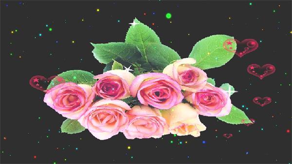 温馨唯美星空玫瑰花爱心围绕旋转婚礼浪漫场所LED配景视频素材