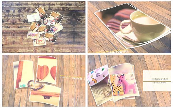 會聲會影X6模板 唯美懷舊木桌擺放相片切換過渡回憶相冊宣傳模板