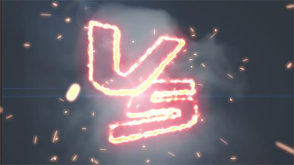 震撼赛场对决场景对决VS弹出摩擦火花烟雾飘浮背景视频素材