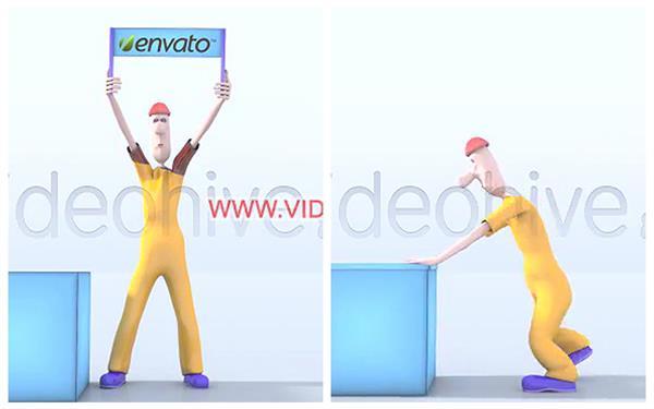 AE模板 人物角色动画移动箱子举牌宣传展示企业LOGO模板 AE素材