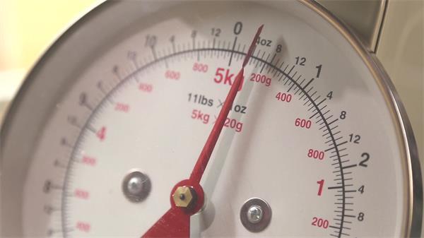 测量重量秤放入重物指针变动称量食物重量厨房秤高清视频实拍
