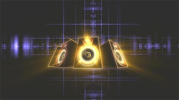 空间科技炫光线条绽放音响喇叭旋转线性变换背景视频素材