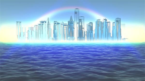 虚拟场景科技梦幻海上城市彩虹海市蜃楼LED背景视频素材