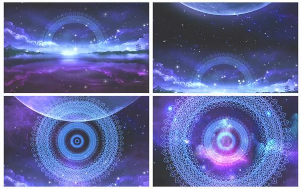 梦境空间宇宙星空光效粒子斑纹变更T台秀屏幕配景视频素材