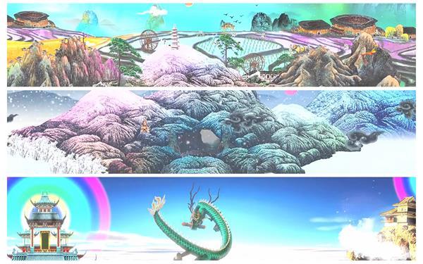 中国风卡通传统动画山水意境龙神话开场LED巨屏背景视频素材