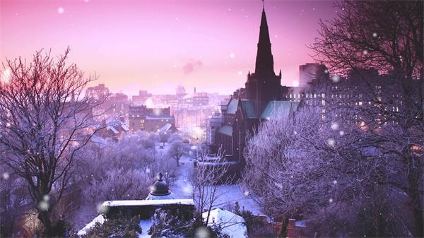 童真梦幻城市雪景雪粒循环落下浪漫温馨视觉效果背景视频素材