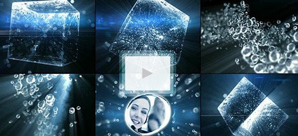 AE模板 虚拟场景水立方光效水珠粒子晶莹展示片头模板 AE素材