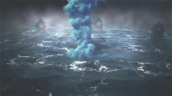 汹涌海浪闪电雷鸣渲染海上龙卷风强大威力视觉背景视频素材