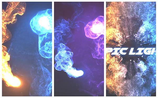 AE模板 震撼史诗般光束粒子旋转运动演绎标题LOGO片头模板 AE素材