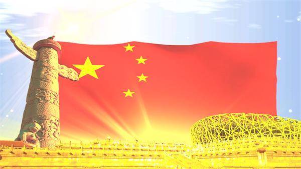 中国国旗飘扬鸟巢金碧辉煌光效党政宣传推广背景视频素材